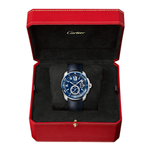 Calibre de Cartier Diver blue watch, 42 mm, steel, leather and rubber