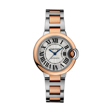 Ballon Bleu de Cartier watch, 33 mm, 18K pink gold, steel