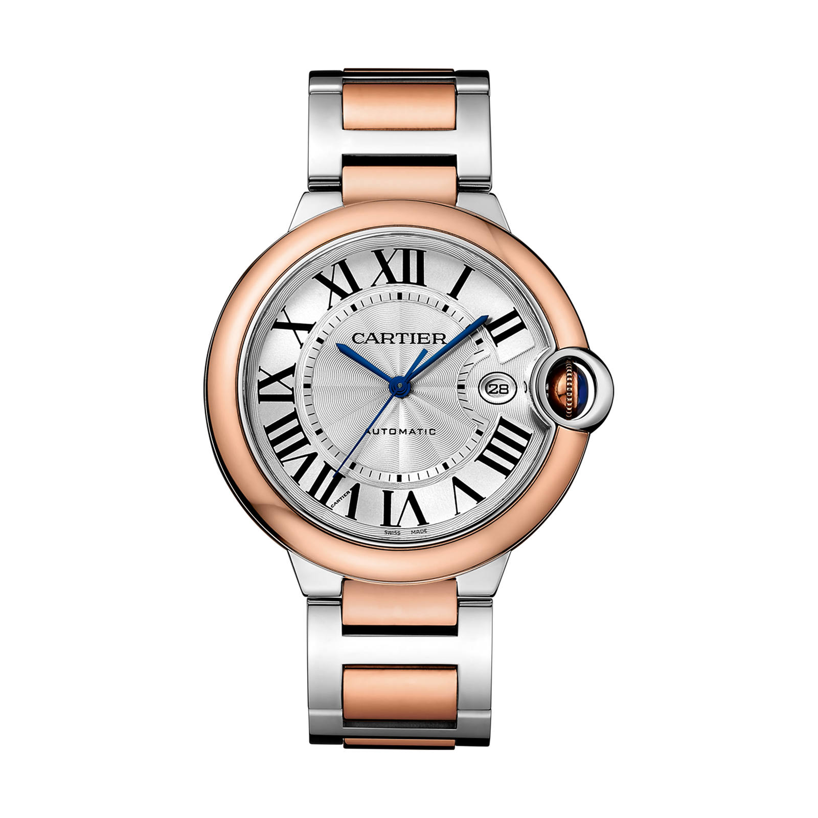Ballon Bleu de Cartier watch, 42 mm, 18K pink gold and steel
