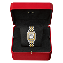 Panthère de Cartier watch, Medium model, yellow gold and steel