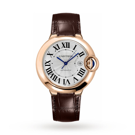 Ballon Bleu de Cartier watch, 42 mm, pink gold, leather, sapphire