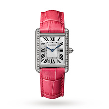 Tank Louis Cartier watch, Large model, rhodium-finish 18K white gold, leather, diamonds