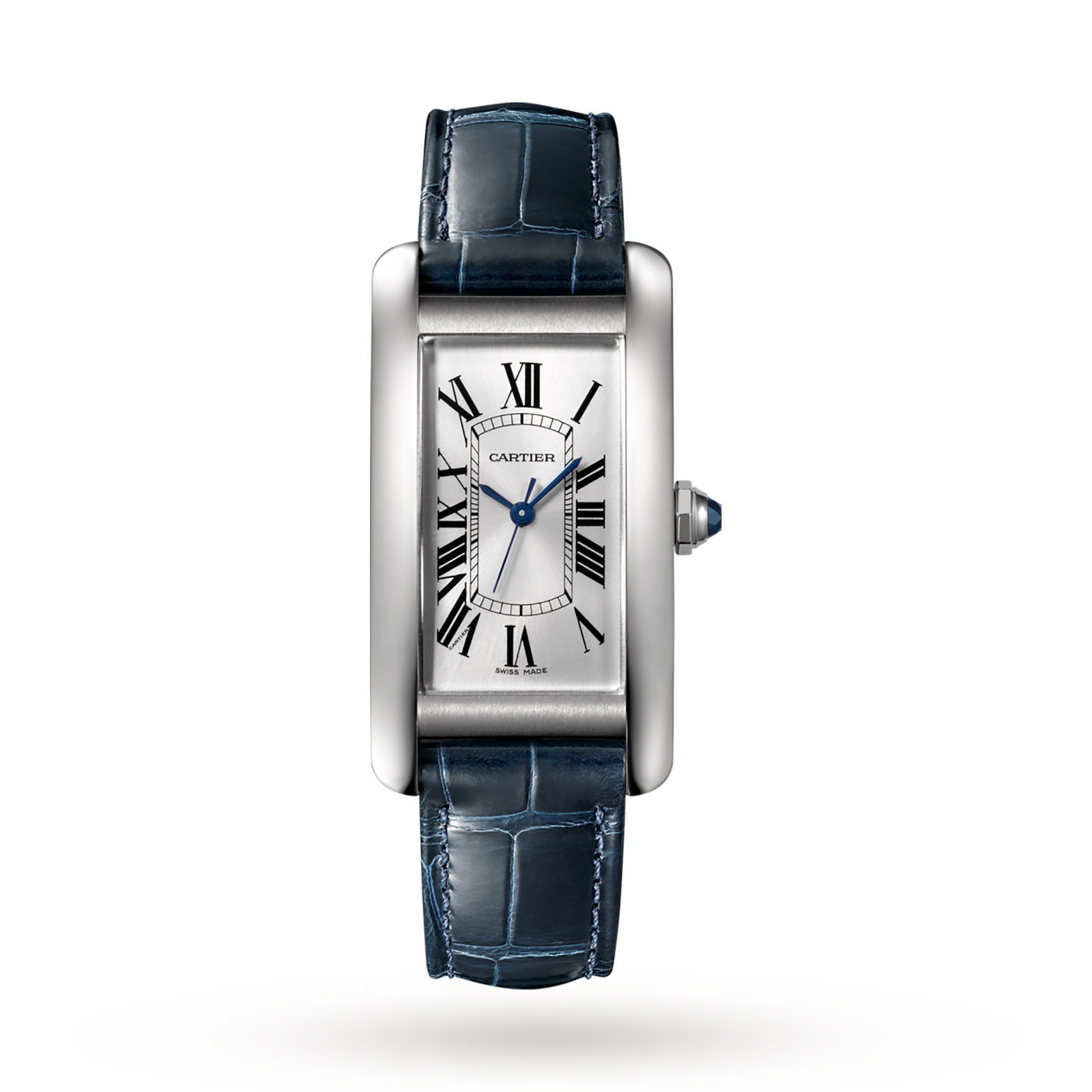 Cartier Tank Américaine watch, Medium model, steel, leather