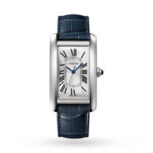 Cartier Tank Américaine watch, Large model, steel, leather