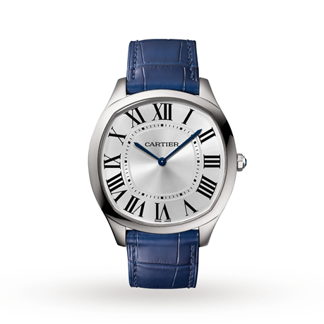 Drive de Cartier Extra-Flat watch, Steel, leather
