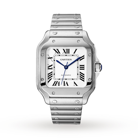 Santos de Cartier watch, Medium model, automatic, steel, interchangeable metal and leather bracelets
