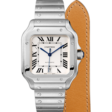 Santos de Cartier watch, Large model, automatic, steel, interchangeable metal and leather bracelets