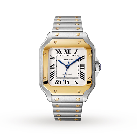 Santos de Cartier watch, Medium model, automatic, yellow gold and steel, interchangeable metal and leather bracelets