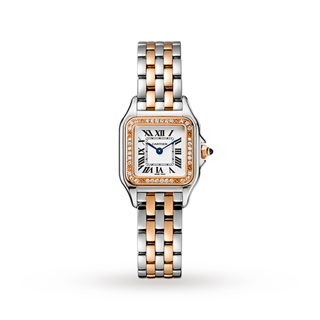 Panthère de Cartier watch, Small model, rose gold and steel, diamonds