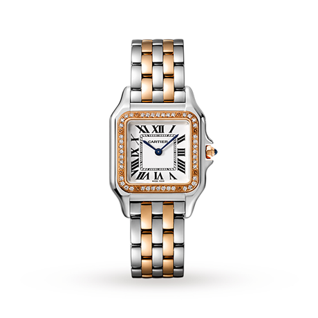 Panthère de Cartier watch, Medium model, rose gold and steel, diamonds