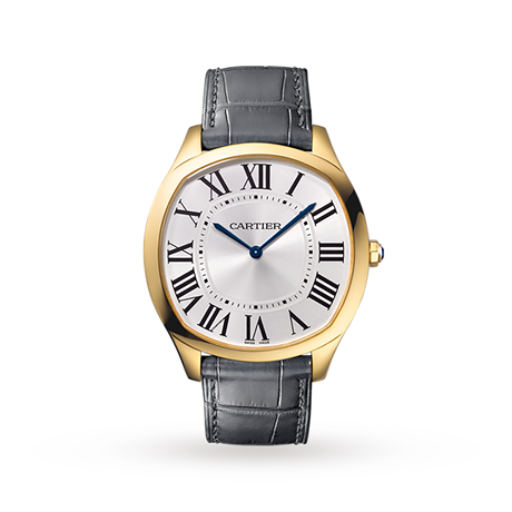 Drive de Cartier watch, Yellow gold, leather