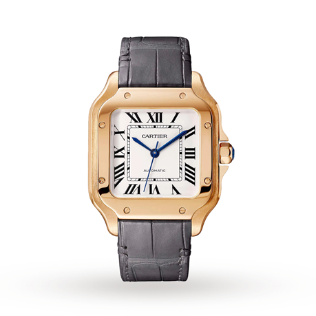 Santos de Cartier watch, Medium model, automatic, rose gold, two interchangeable straps