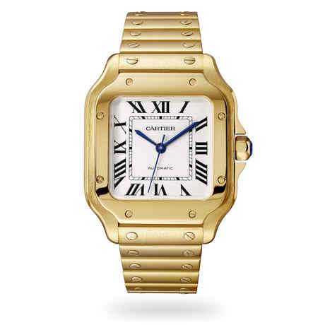 Santos de Cartier watch, Medium model, automatic, yellow gold, two interchangeable straps
