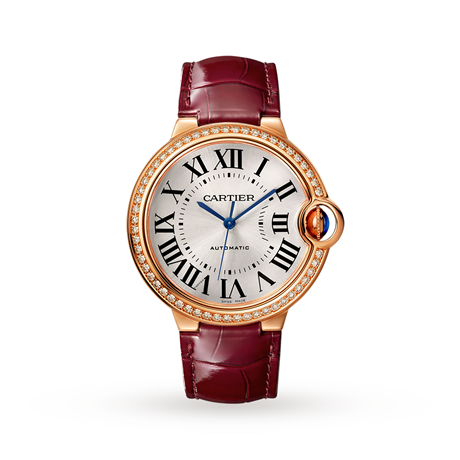 Ballon Bleu de Cartier watch, 36 mm, rose gold, diamonds, leather