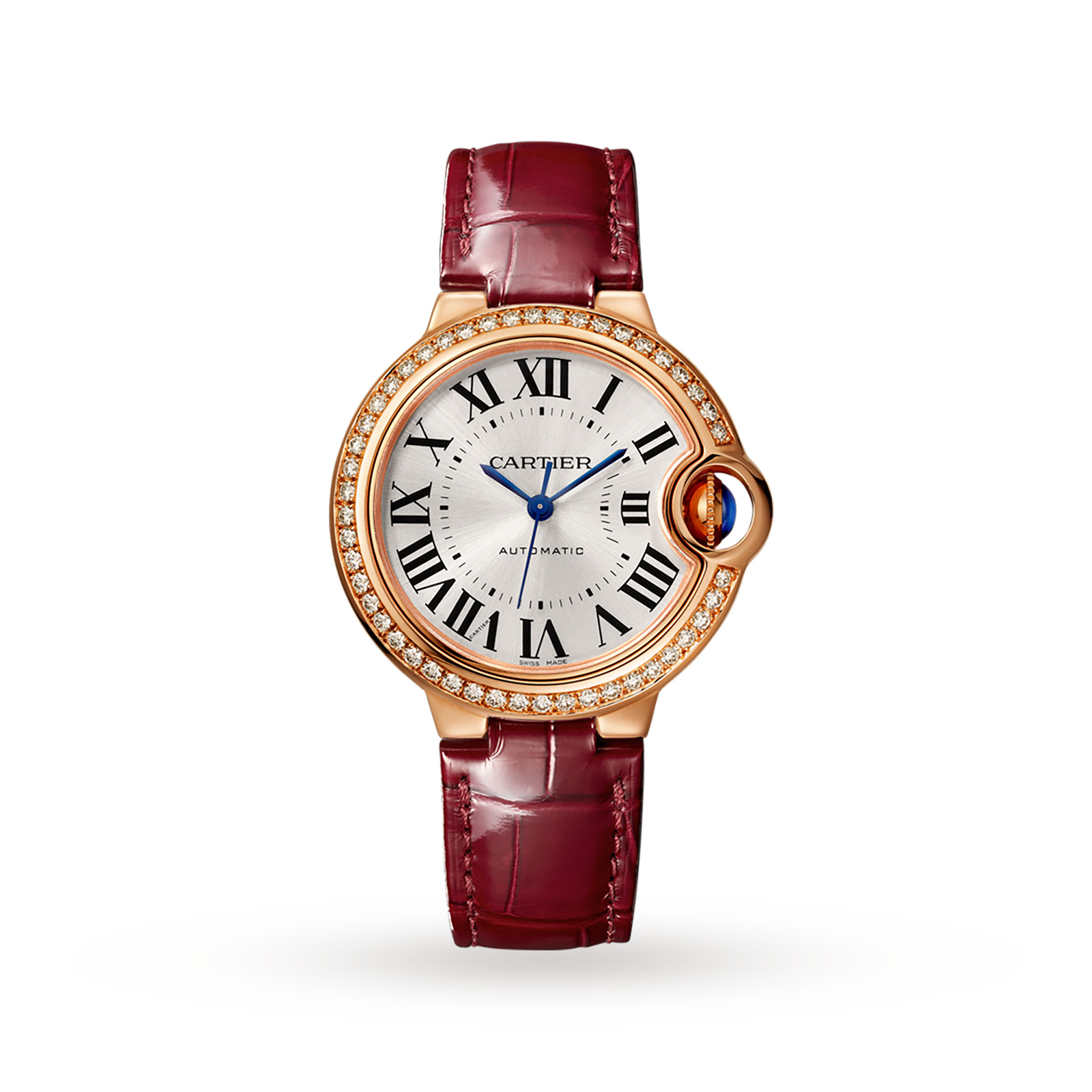 Ballon Bleu de Cartier watch, 33 mm, rose gold, diamonds, leather
