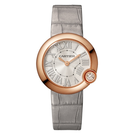 Ballon Blanc de Cartier watch, 30 mm, rose gold, diamond, leather