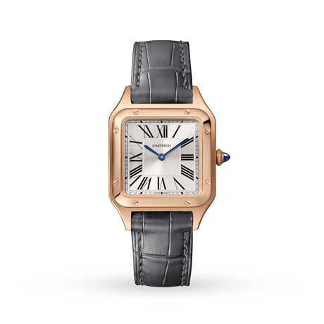 Cartier Santos- Dumont Small model, Rose Gold, Leather