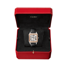 Cartier Santos- Dumont Large model, 18K rose gold and steel, leather