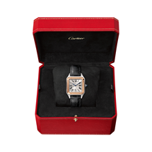 Cartier Santos- Dumont Small model, 18K rose gold, steel, leather