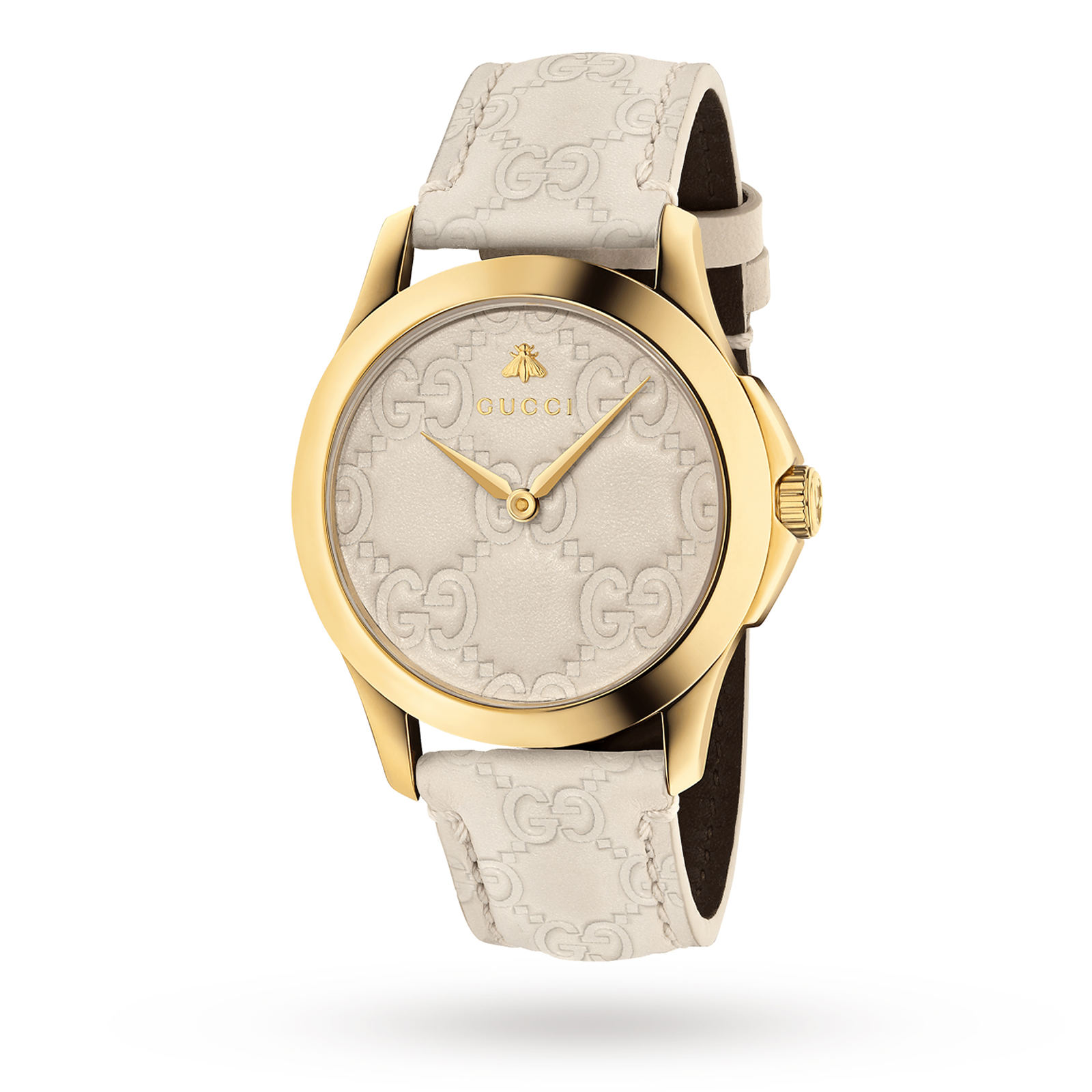 664aa03c0 Gucci G-Timeless Cream Leather Watch YA1264033 | Ladies Watches | Watches |  Goldsmiths