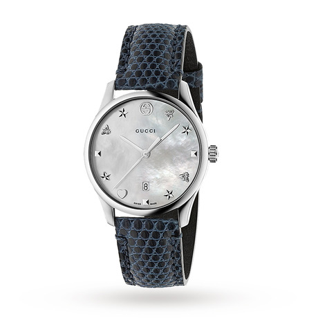 Gucci G-Timeless Blue Leather Watch YA1264049