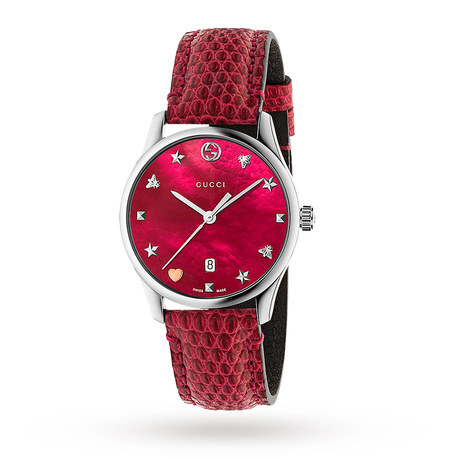 Gucci G-Timeless Cherry Leather Watch YA1264041
