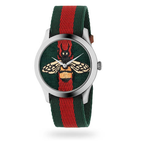 Gucci G-Timeless Green and Red Web Watch