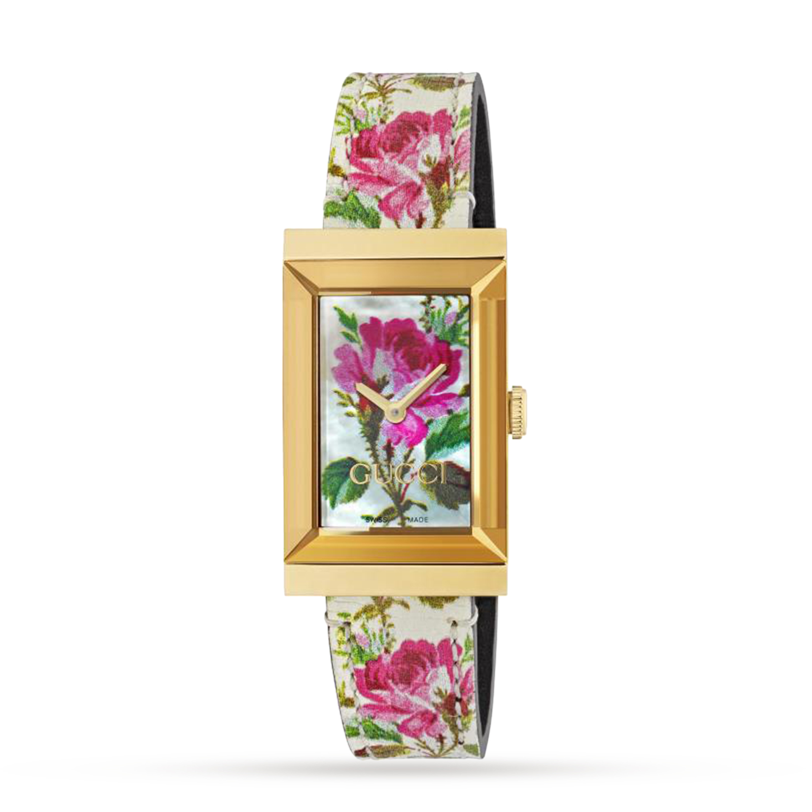 Gucci Floral Mother Of Pearl Dial G Frame Ladies Watch