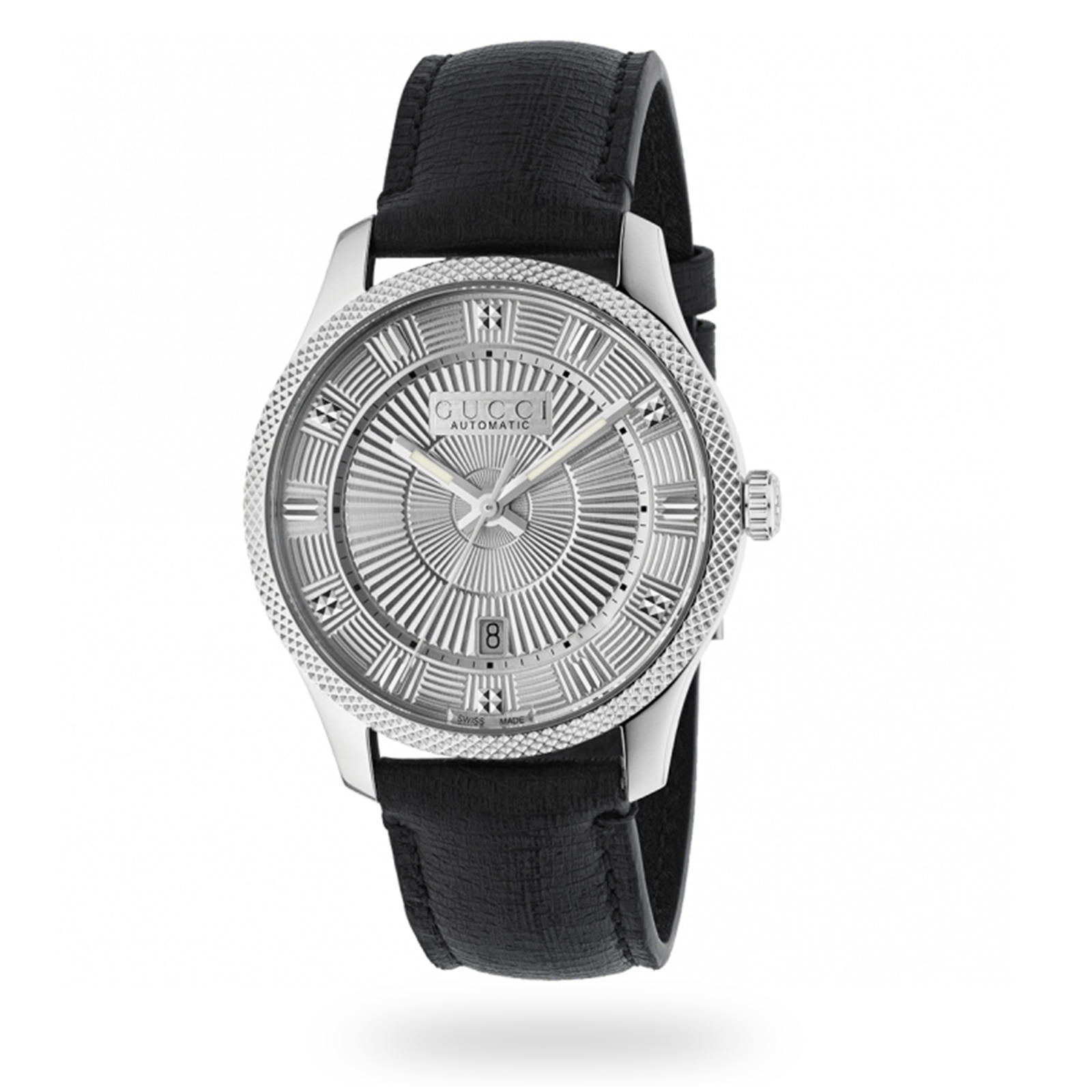 Gucci Steel & Silver Guilloche Dial Mens Watch