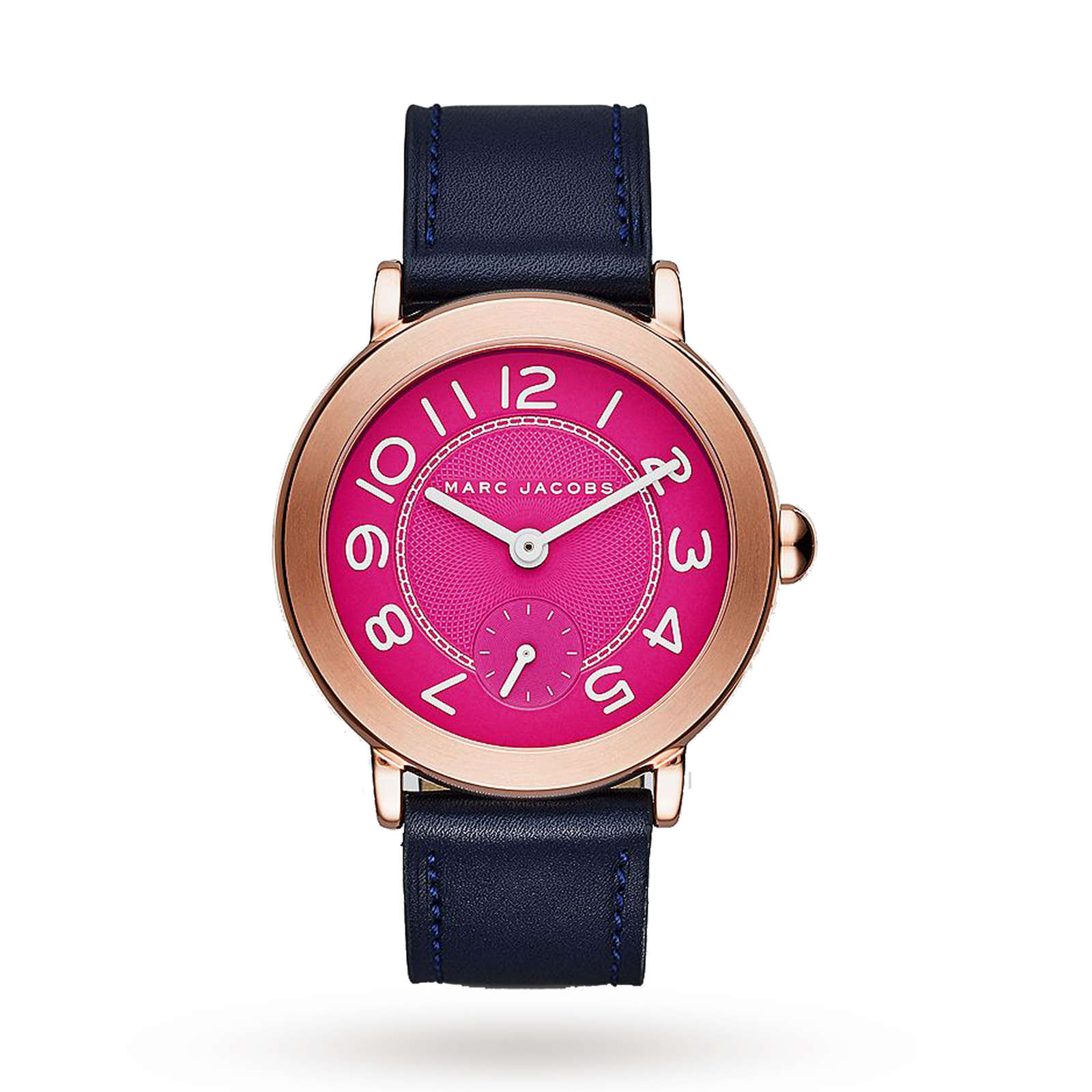 Marc Jacobs Riley Rose Gold-Tone and Navy Leather Three-Hand Watch ...