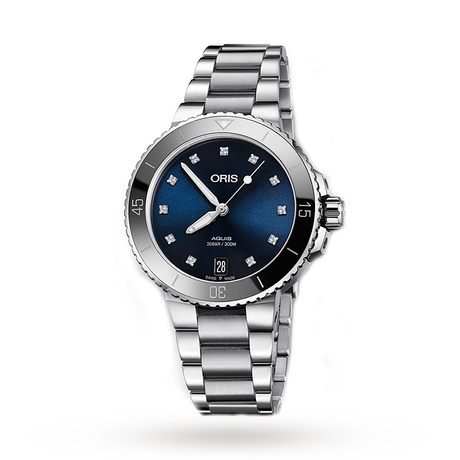 Oris Aquis Date Blue Diamond Dial Ladies Watch 733 7731 4195-07 MB