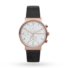 Skagen Mens Ancher Chronograph Leather Strap Watch, Black/White