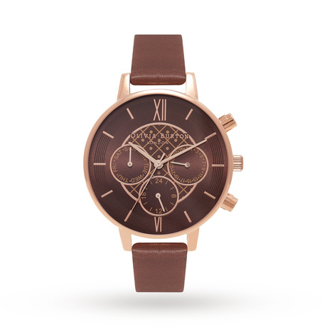 Olivia Burton Chrono Detail Brown & Rose Gold