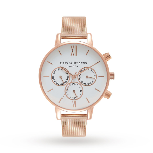 Olivia Burton Chrono Detail Rose Gold Mesh
