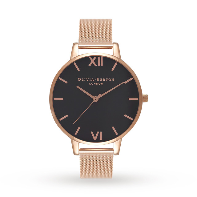 Olivia Burton Ladies Black Dial Watch