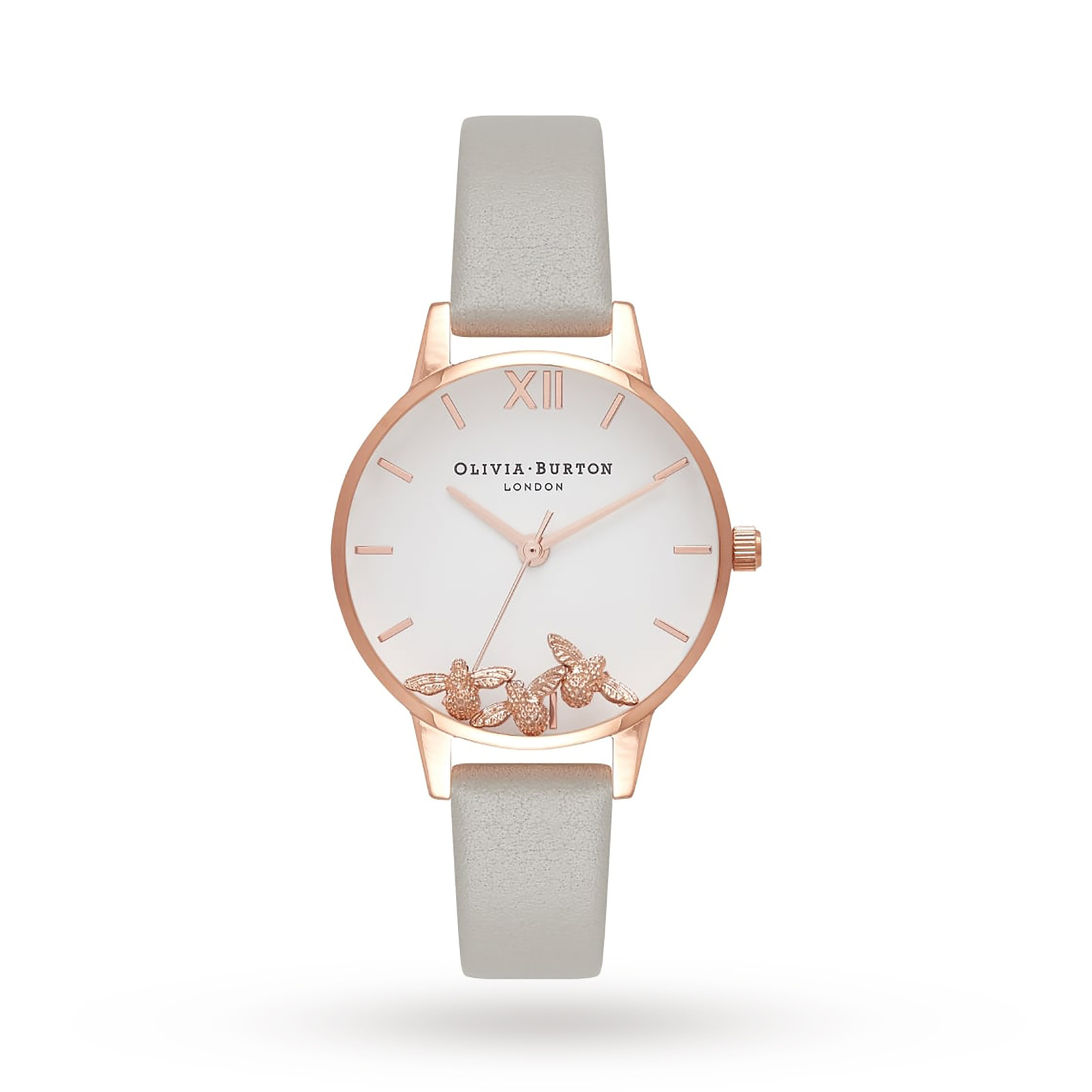 Olivia Burton Busy Bees Grey And Rose Gold Watch
