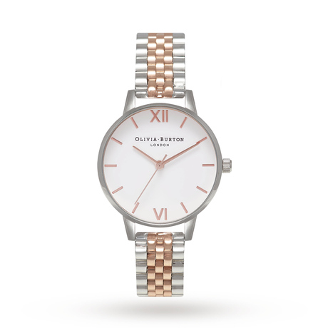 Olivia Burton Midi White Dial Rose Gold & Silver Bracelet Watch