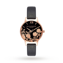 Olivia Burton Black & Rose Gold Floral Ladies Watch OB16MV75