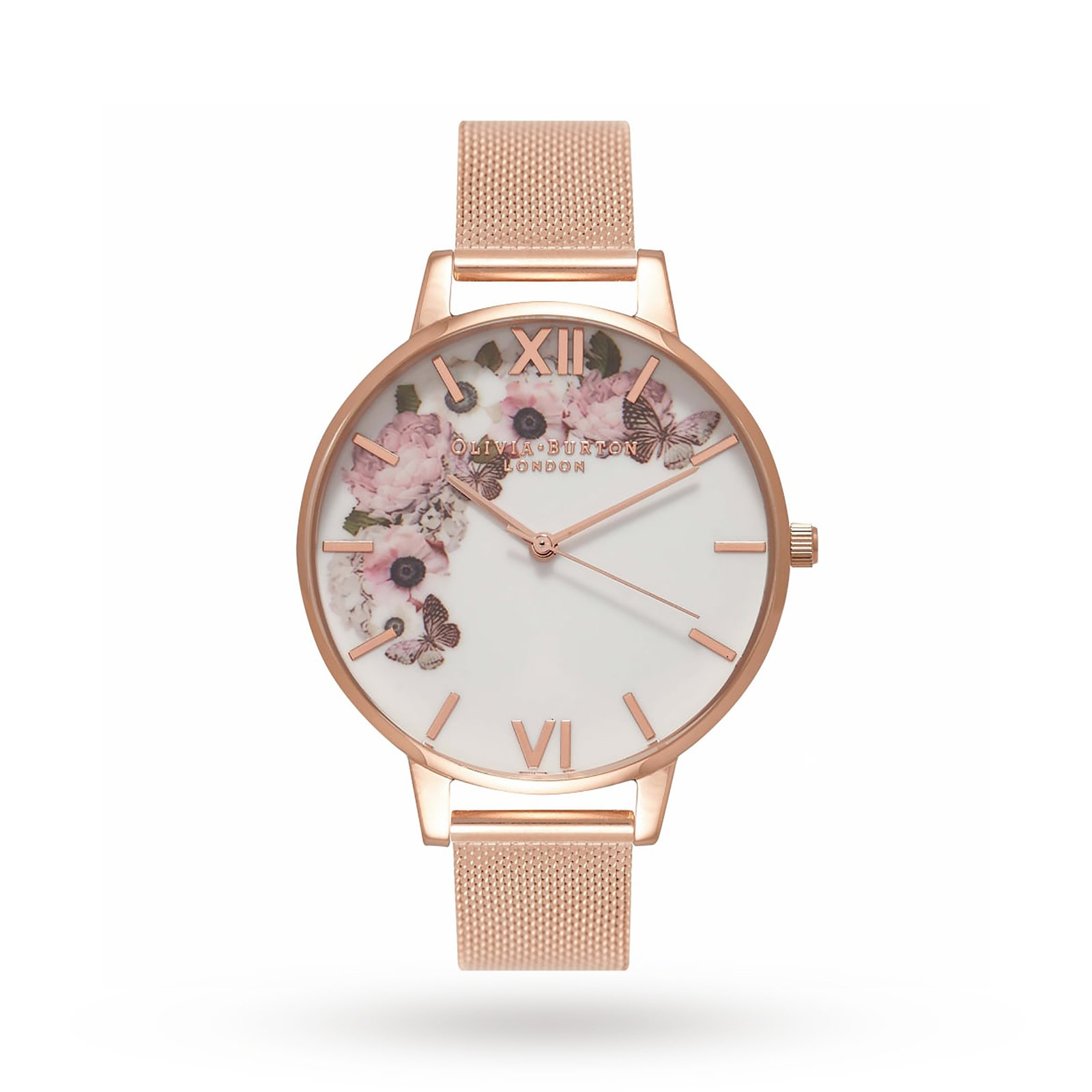 Olivia Burton Signature Floral Rose Gold Mesh Watch