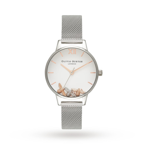 Olivia Burton Busy Bees Rose Gold & Silver Mesh Watch