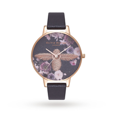 Olivia Burton Embroidered Dial Black & Rose Gold