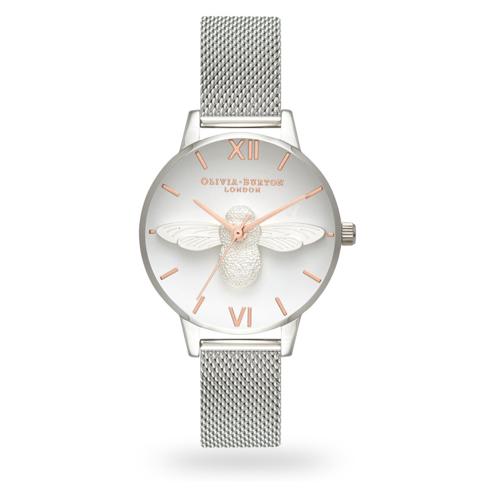 Olivia Burton 3D Bee Rose Gold & Silver Mesh