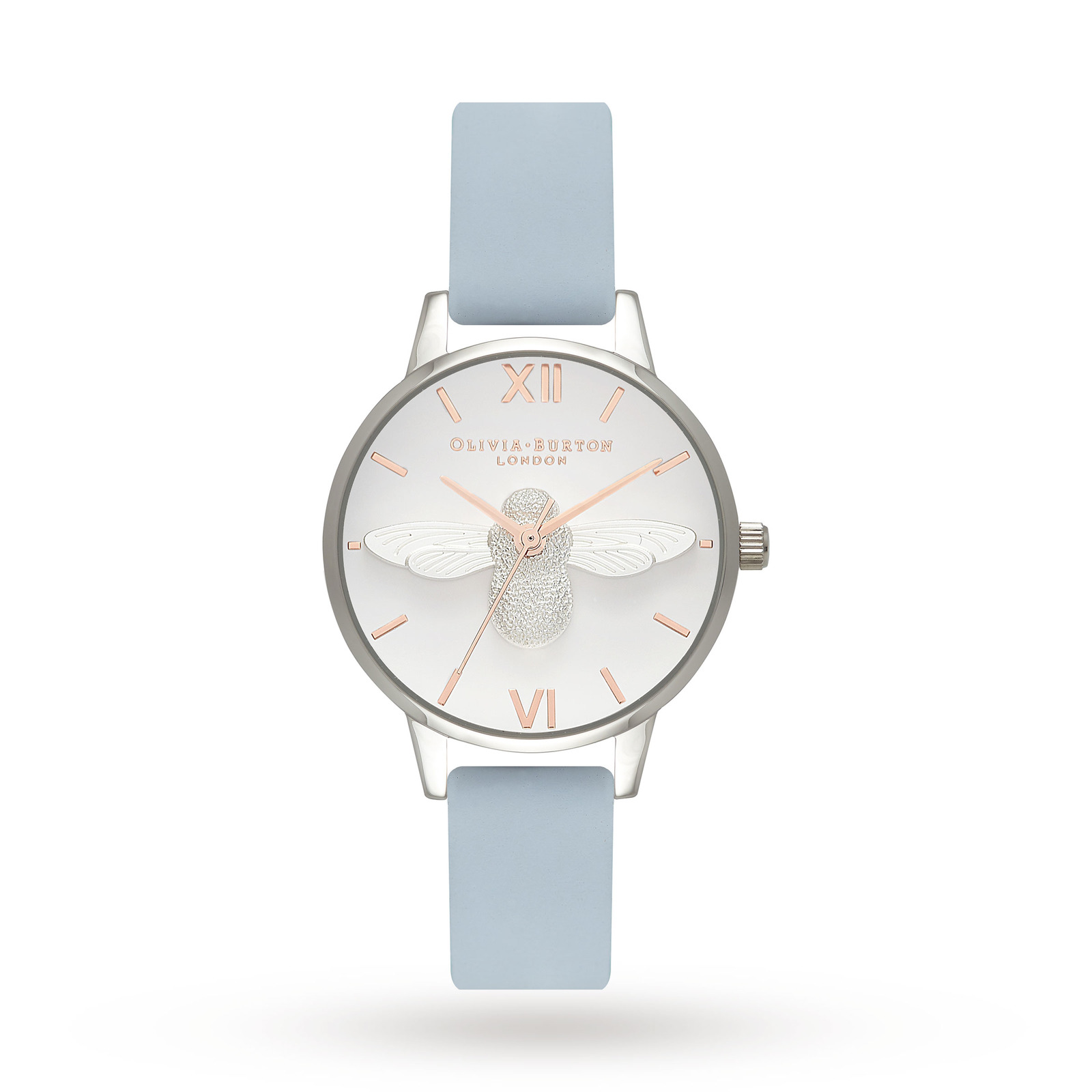 Ladies Olivia Burton Moulded Bee Chalk Blue & Silver Watch OB16AM125