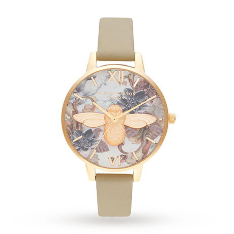 Olivia Burton Marble Florals Demi 3D Bee Ladies Watch