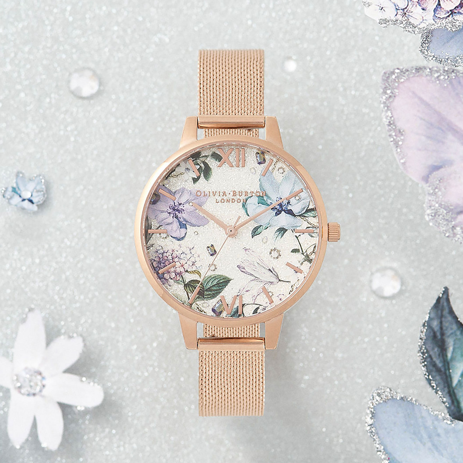 Olivia Burton Bejewelled Florals Silver Glitter Ladies Watch