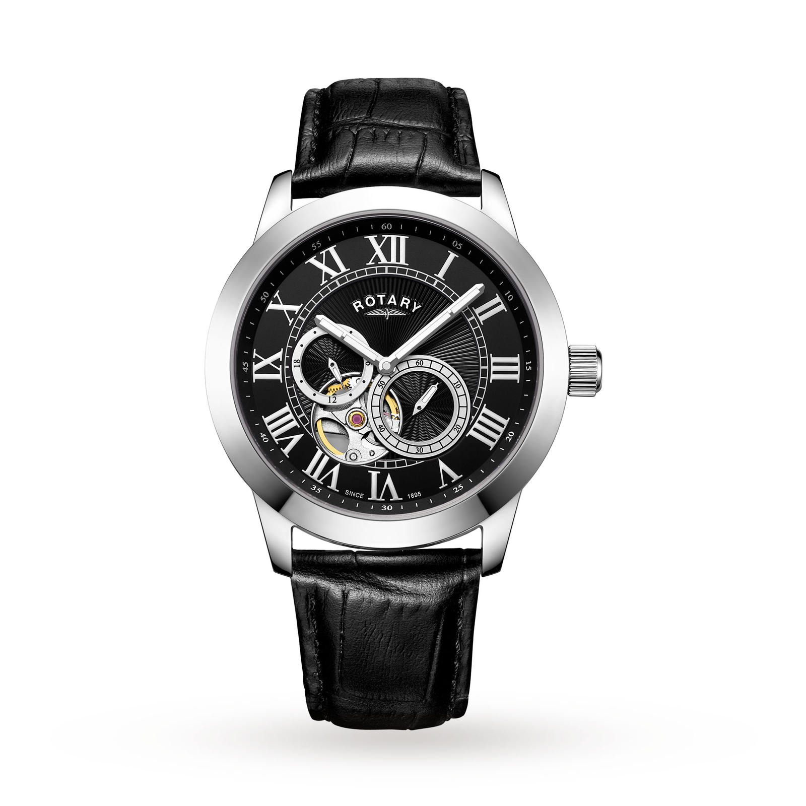 Rotary Mens Exclusive Open Heart Automatic Watch