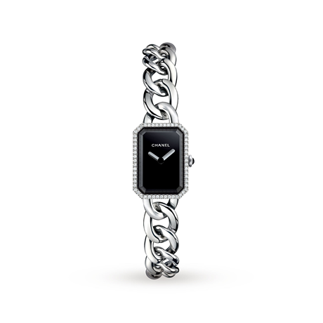 Chanel Premiere Steel and Onyx Watch