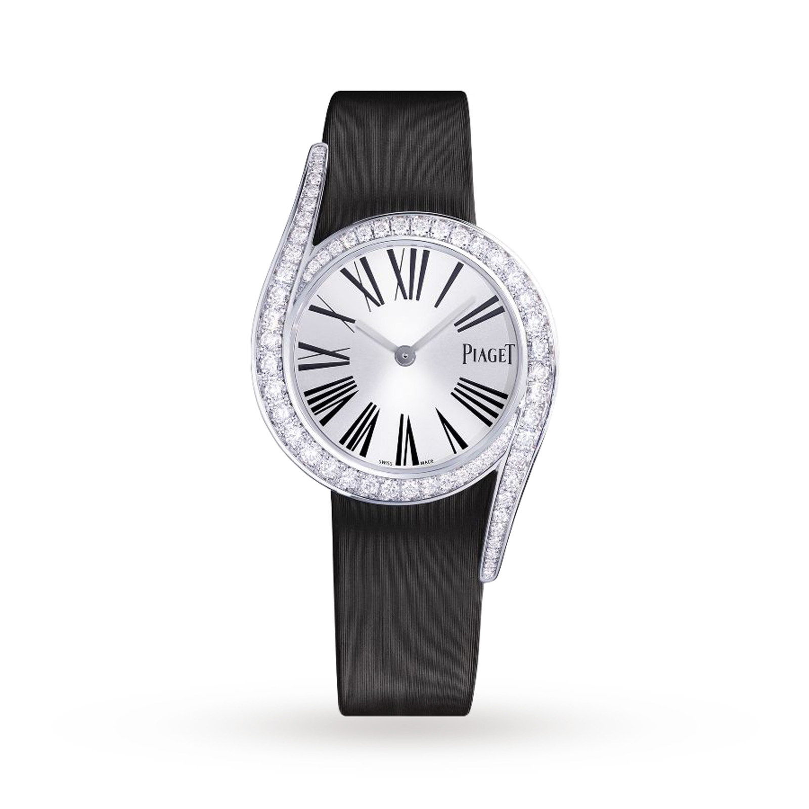 diamond bezel with leather in piaget altiplano rose white gold watches on black round strap