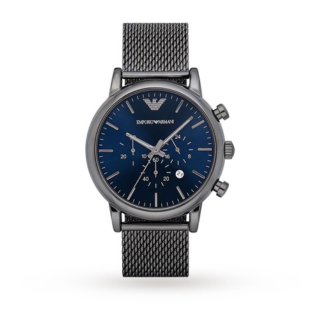 Armani Luigi Grey Mesh Blue Dial Gents Watch AR1979