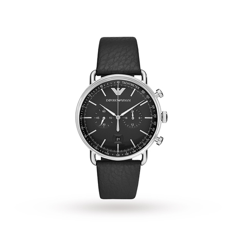 Armani Aviator Black Leather and Dial Gents Watch AR11143